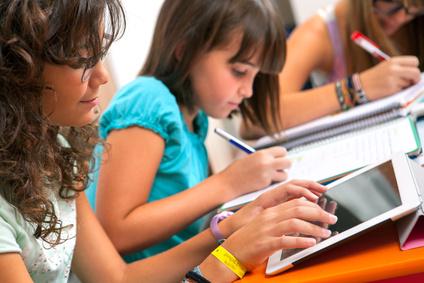 Teenagers doing schoolwork.